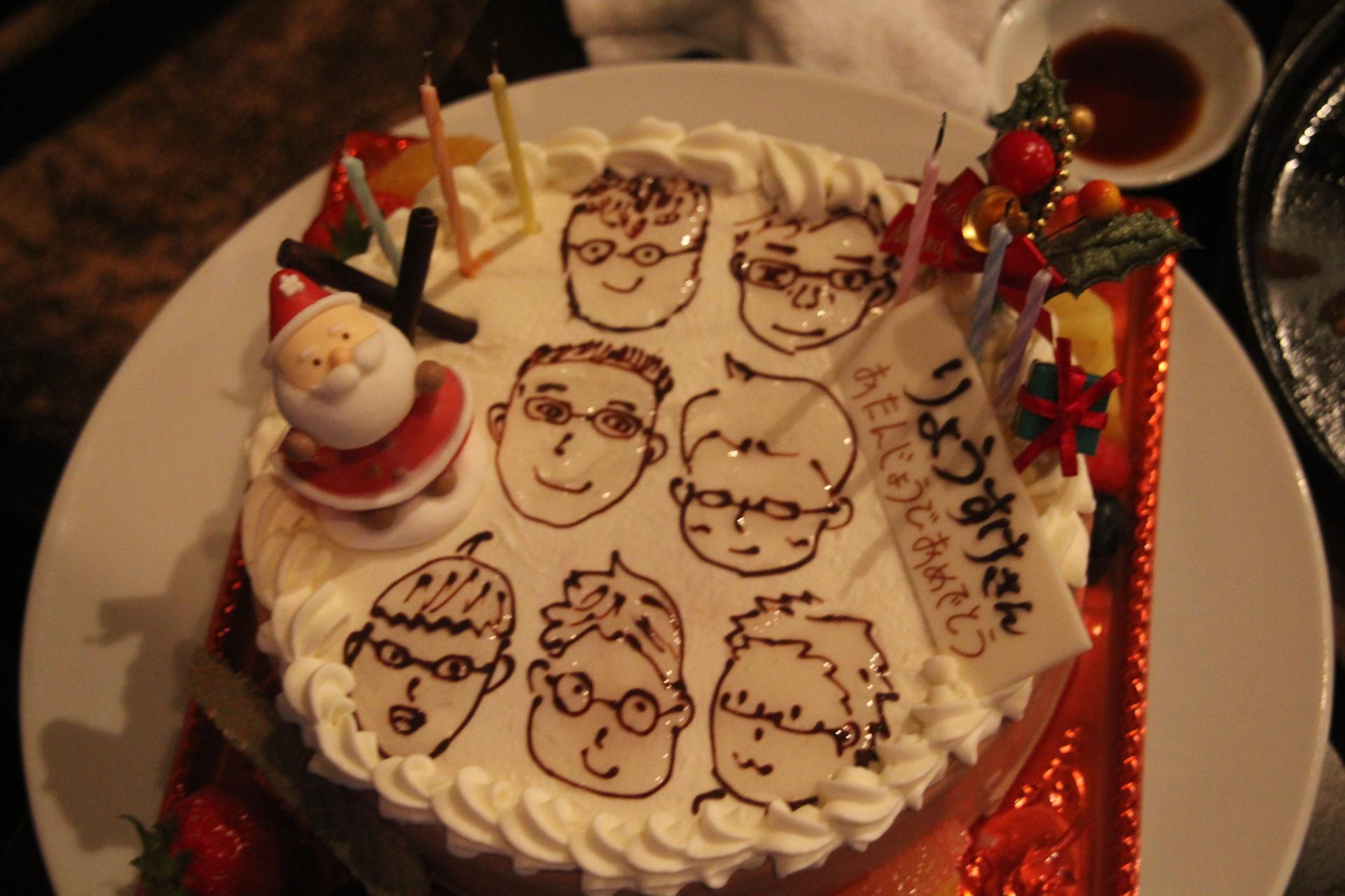 高校生が書いてくれた似顔絵入りケーキ